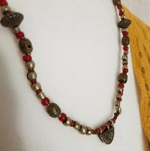BUNDLE ONLY Vintage red and silver necklace